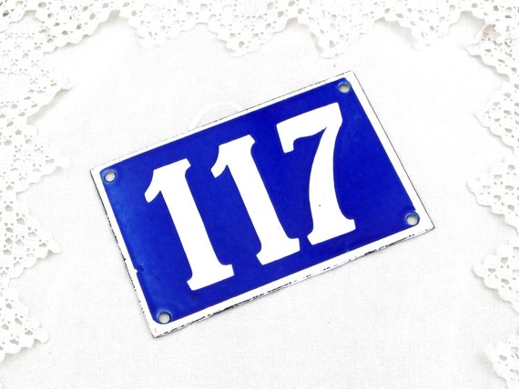 Vintage Traditional French Enamel House Number Plate Number 117 in Blue with White Colored Numbers, Retro Porcelain Street Sign from France