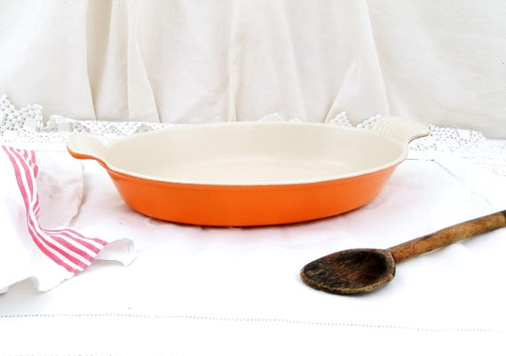 Vintage Le Creuset from France Traditional Bright Orange and White Enameled Cast Iron 28 Oven Dish, Cooking Grill Pan / Pot, Kitchen France
