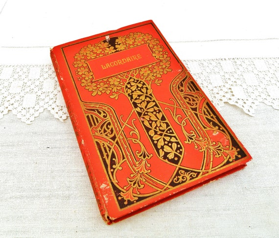 Antique French Child's School Prize Novel with Decorative Red and Gold Art Nouveau Cover, Retro Vintage Student's Book Decor from France