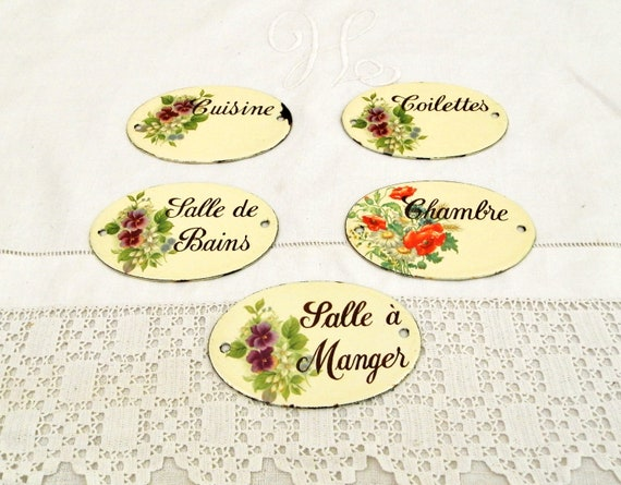 5 Vintage French Hand Painted Enamel Porcelain Oval Door Plaque For Kitchen, Dinning Room, Bedroom, Bathroom and Toilet, Retro from France