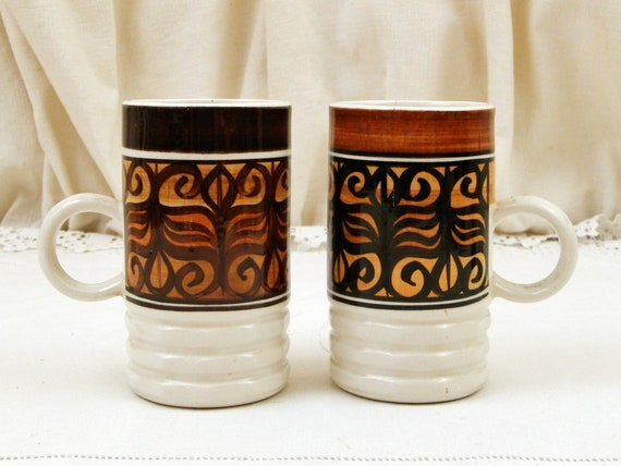 2 Vintage Hand Painted Jersey Pottery Coffee Mugs, Matching Pair of Handmade Tall Thin Tea Cups From Channel Islands, Kitchen Collectible