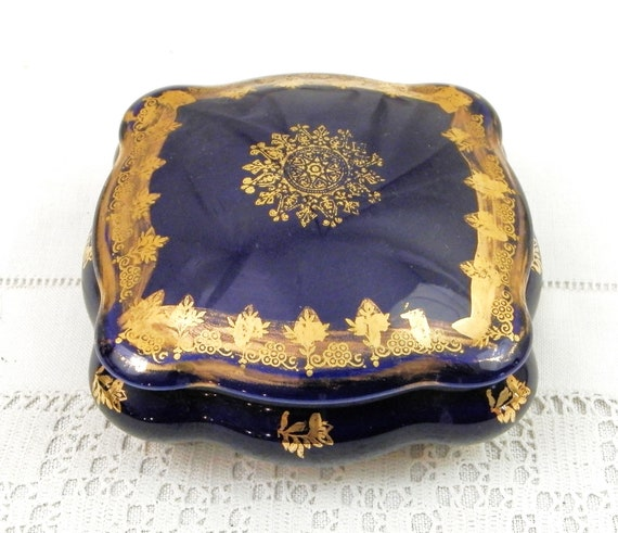Vintage French Limoges Fine Porcelain Square Jewelry Box in Cobalt Blue and Gold, China Trinket Container from France, Ceramic Collection