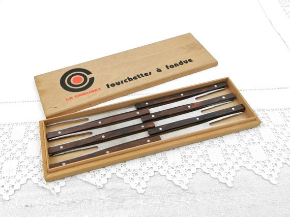 Vintage French Boxed Set of 6 Fondue Forks by Le Creuset, Retro Kitchenware Stainless Steel and Bakelite Cheese Fondue Accessory from France