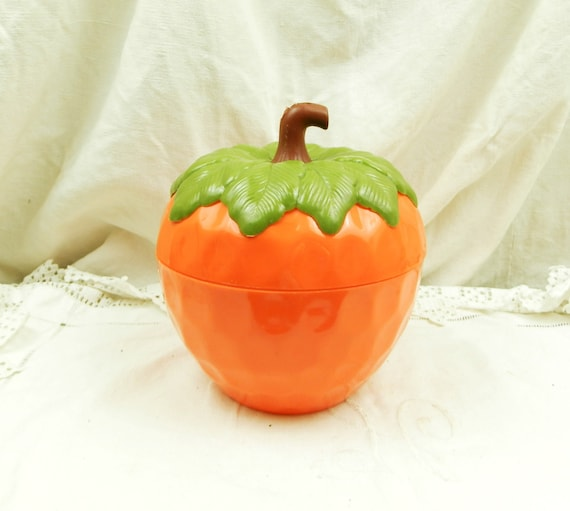 Vintage 1960s French Orange Strawberry Shaped Ice Bucket, 60s Funky Retro Icecube Barware from France, 60s  Berry Fruit Shaped Kitchenalia