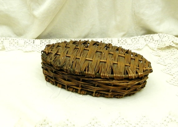 Small Antique French Oval Woven Willow Wicker Basket, Rustic Primitive Country Cottage Decor, Retro Curios Quirky Container from France