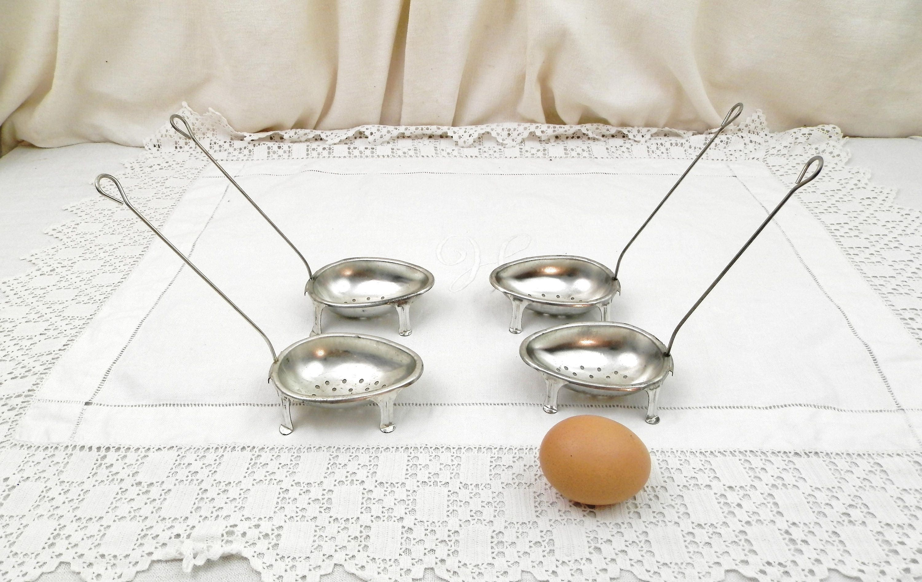 attractive Vintage Egg Poachers Part - 10: Set of 4 Vintage Unused French Footed Metal Egg Poachers for Saucepan with  Instructions Made by Combrichon in France, Poached Eggs Cooking