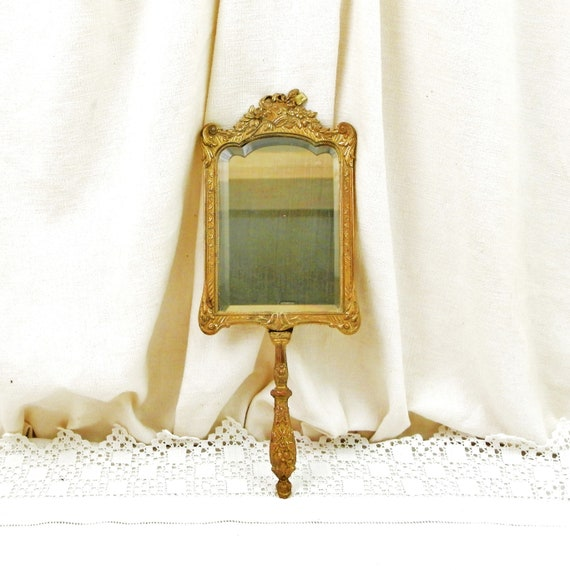 Vintage French Louis XV Style Ornate Gold Gilt Cast Metal Hand Held Mirror with Beveled Edge, Retro Fancy Decorative Make Up Vanity France
