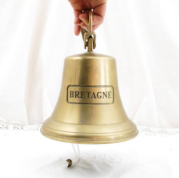 """Large Vintage French Reproduction Bronze Bell Engraved  """" Bretagne """"="""" Brittany """", Sailing Boat Bell, Wall Hanging Front Door Bell, France,"""