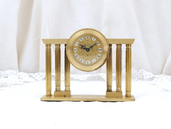 Working Vintage Mid Century Gold 1950s Rare French Mechanical Ornate Alarm Clock Solo, Made in France, Unusual Wind-up Metal Bedside Clock