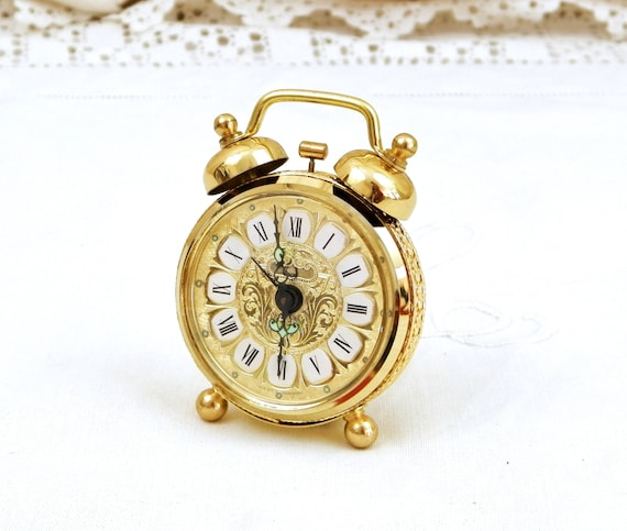 Small Vintage Mechanical Unused Alarm Clock, Retro 1970s West German Wind Up 2 Bells Gold Colored Clock with Roman Numerals, Bedroom Decor