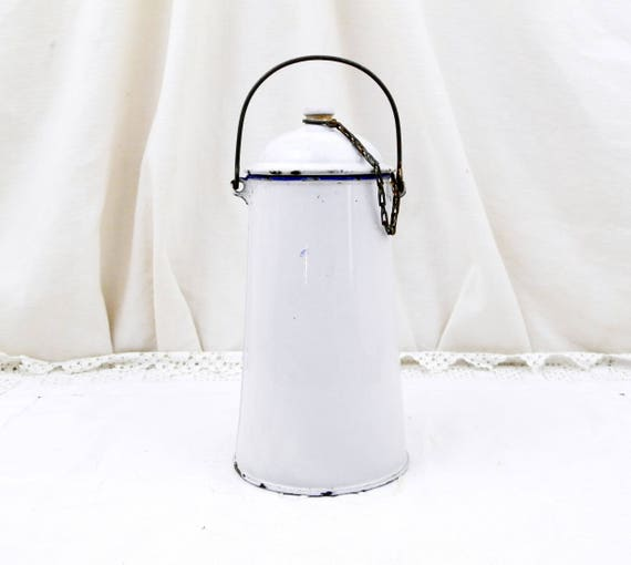 Antique French White Enamelware Milk Pail / Churn, French Country Decor, Chippy Enamel Chateau Shabby Chic Retro Rustic Cottage Kitchen