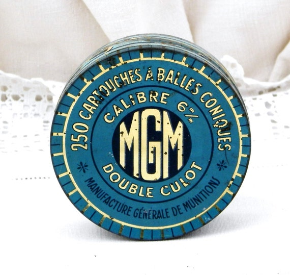 Antique French Metal Tin, Blue with Gold Lettering MGM Rifle Lead Shot, Retro Vintage Home Decor, Country, Brocante, Pellets, Industrial