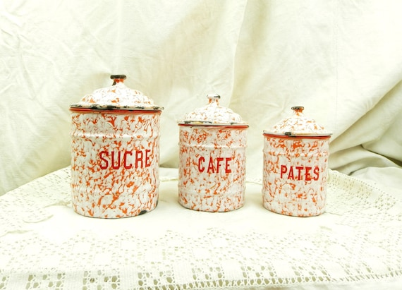 Antique French 3 Piece Canister Set in Red White Marbled Enamel, Enamelware Cannisters from France, Art Deco Kitchenware, Country Kitchen