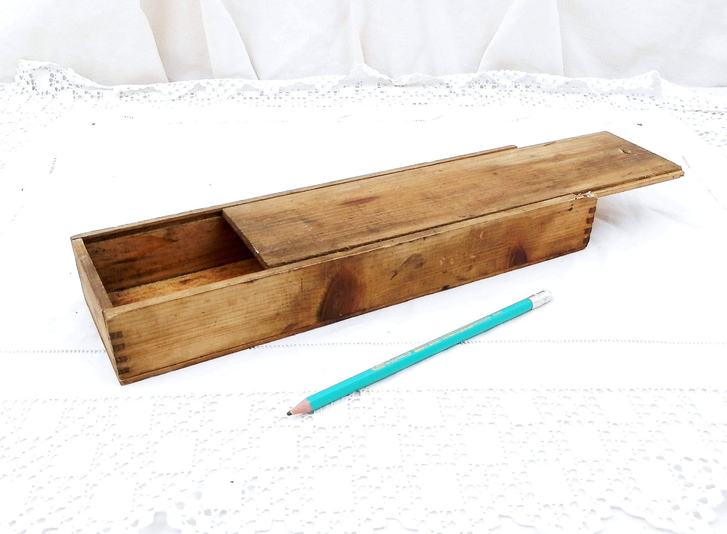 Amazing Antique French Wooden Pencil Box With Sliding Lid, French Country Decor,  Retro, Vintage Desk, Home, Office, School, France, Pupil, Writing