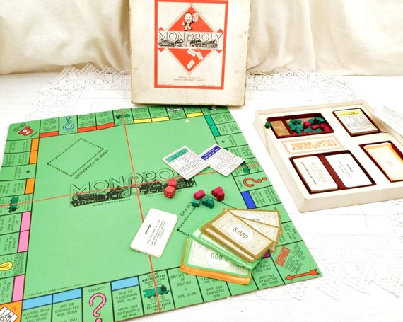 Vintage 1940s Early Edition of the French Version Of Monopoly in Paris with Wooden Houses and Hotels, Retro 40s Board Game from France