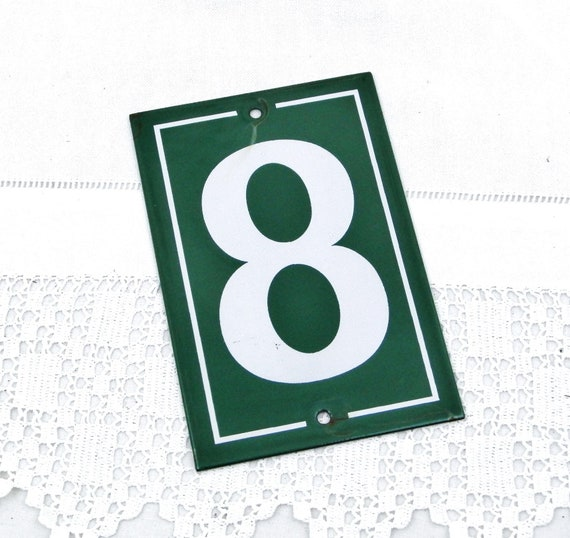 Vintage Traditional French Green and White Enamel Metal Number Plaque 8, Vintage Porcelain House Street Enameled  Wall Hanging Address Sign