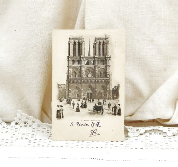 Antique French Black and White Postcard Notre Dame Cathedral Famous Monument in Paris Posted 1902, Vintage Parisian Brocante Decor France