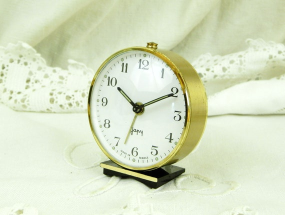 Working Vintage Mid Century Japy French Wind Up Mechanical Alarm Clock, Gold and Black 1950s Bedside Timepiece from France, Retro Home Decor