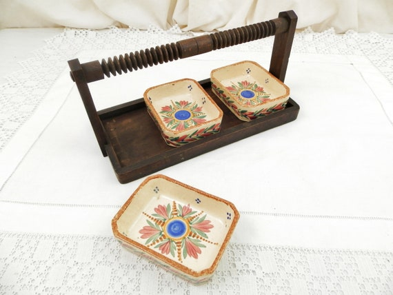 Vintage French 1950s Wooden Aperitif Plateau with 3 Hand Painted Ceramic Bowls by Henriot Quimper Brittany, Retro Breton Jewelry Dishes