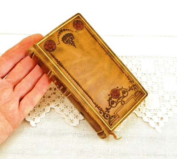 Small Antique French Leather Bound The Imitation of Christ, Vintage Roman Catholic Liturgical Book, Religious Booklet from France