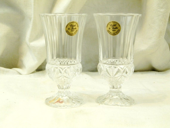 2 Vintage French Lead Crystal de Flandre Unused Wine Glasses, New Old Cristal Glass Drinking Glasses from Nothern France, Elegant Dinning