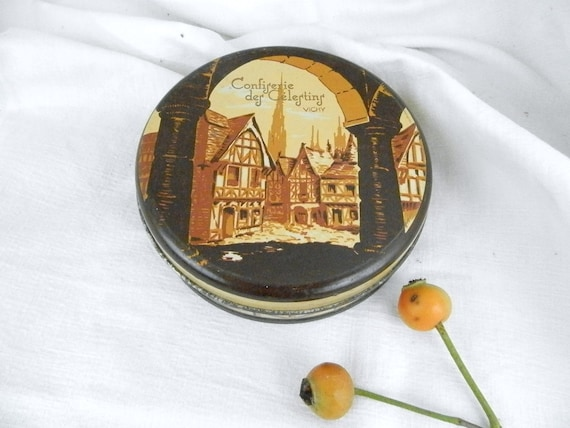 Vintage French Candy Tin / Sweet / French Country Decor / Retro Home / Fleamarket / Decorative / French Vintage / Brown / Home Decor