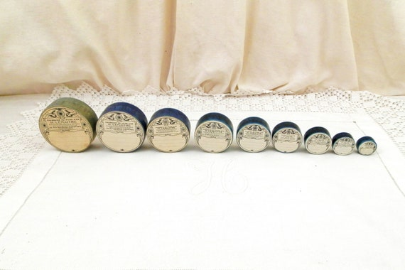 Rare Antique 1920s Nest Set of 9 Apothecary French Chemist Round Powder / Pill Boxes, Retro Medical Decor Items of France, Country Curios