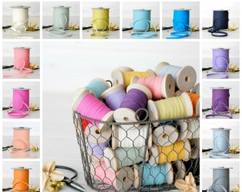"109 Yards Spool - Cotton Ribbons - 20 Colors of Cotton Ribbon - 100% Cotton Ribbons - 1/4"" wide - Eco Friendly - Bulk - Colorful Ribbons"