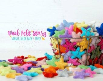 Felt Stars - 10 Wool Felt Stars - (3-4CM/30-40MM) - 10 Felted Stars - Felted Stars - Choose a Color - Wet Felted Stars - Single Color Bundle