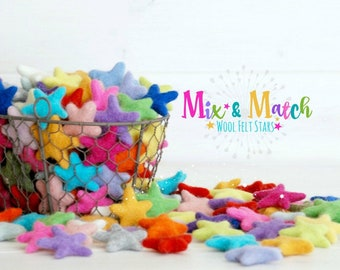 Mix & Match Felt Stars - Wool Felt Stars - (3-4cm/30-40mm ) You Choose Colors