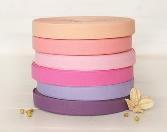 "Cotton Ribbon - By the Yard - 100% Cotton Ribbon from Italy - 17mm - 5/8"" width - Beautiful Colorful Cotton Ribbons - Eco Friendly Ribbons"