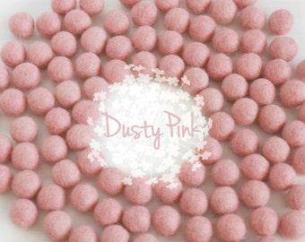 Wool Felt Balls - Size, Approx. 2CM - (18 - 20mm) - 25 Felt Balls Pack - Color Dusty Pink-4005 - 2CM Felt Balls - Felt Pom Poms - Pink Beads