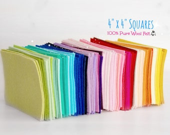"4"" x 4"" Squares - 100% Wool Felt - Squares - 4"" x 4"" Wool Felt Pieces - Merino Wool Felt Squares - Colors are limited - FINAL SALE"