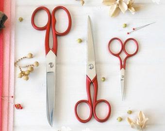 Scarlet Red Scissors - Red Shears - Tailor Scissors - Sharp Scissor, Beutiful Scissor - Wool Felt Scissors - 3 Pack - Once of each size