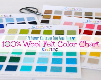 136 Yummy Colors - 100% Pure Wool Felt Color Chart - Felt chart - Wool Felt Swatch Color Chart with DMC Matching Codes - FINAL SALE