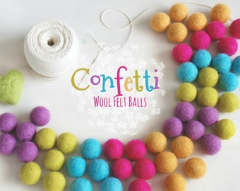 Confetti Felt Balls  - 100% Wool Felt Balls - 50 Wool Felt Balls -2cm Felt Balls - Party Felt Balls - Happy Colors - Party Felt Ball Garland