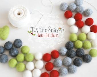 Felt Balls - Christmas Felt Balls #3 - 100% Wool Felt Balls - 50 Wool Felt Balls - (18-20mm) - 2cm Felt Balls - Christmas Garland Kit - poms