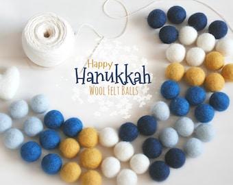 Felt Balls - Hanukkah Felt Balls #1 - 100% Wool Felt Balls - 50 Wool Felt Balls - (18-20 mm) -Felt Balls - Happy Hanukkah Garland - 2cm Poms