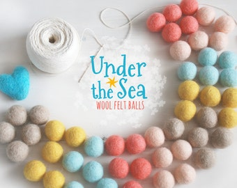 Under the Sea Felt Balls  - 100% Wool Felt Balls - 50 Wool Felt Balls - 2cm Felt Balls - Under the Sea Garland - Under the Sea Colors - Poms