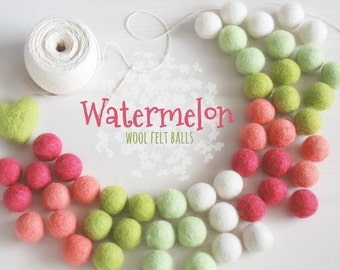 Watermelon Felt Balls  - 100% Wool Felt Balls - 50 Wool Felt Balls - 2cm Felt Balls - Watermelon Garland - Watermelon theme - Watermelon Fun