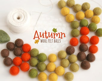 Autumn Bundle Felt Balls - Thanksgiving Felt Garland  - 2cm 100% Wool Felt Balls - 50 Wool Felt Balls - DIY Felt Ball Garland - Fall colors