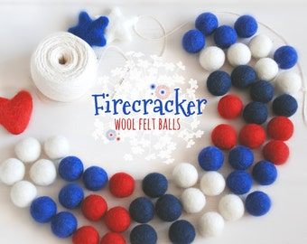 Firecracker Felt Balls  - 100% Wool Felt Balls - 50 Wool Felt Balls -2cm Felt Balls - 4th of July Garland - USA Colors - Patriotic Garland