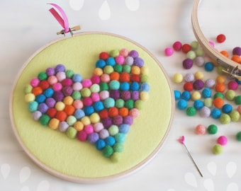 DIY Felt Balls Heart Kit - Hoop Art Kit - Mini felt balls Kit - Wall Decor Hoop- Embroidery Hoop Art- Colorful Felt Heart - DIY Hoop Art Kit