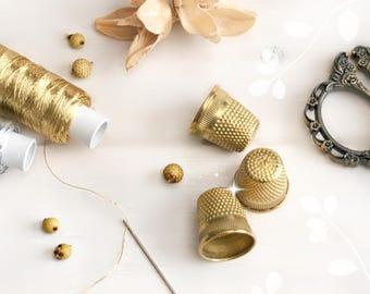 Golden Thimble, Sewing Quilting Metal Thimble, Gold Color Thimble, Dedal Dorado, Finger Protector, Thimbles