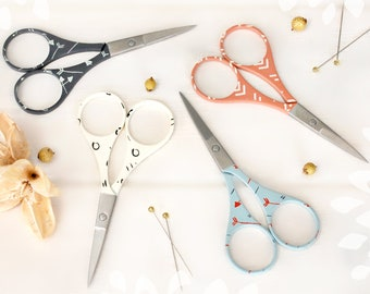 Colorful Embroidery Scissors - Small Scissors- Coral Scissors - Aqua Scissors - Dark Plum Scissors - Arrows & Chevron Scissors - Cream Snips