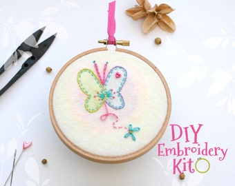 Butterfly Embroidery Patterns - DIY Embroidery Kit - Kid's Cute Stitching Patterns - DIY Beginners Stitching Kit - Iron On Butterfly - DIY