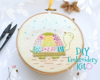 Turtle Embroidery Patterns - DIY Embroidery Kit - Kid's Cute Stitching Sampler Patterns - DIY Beginners Stitching Kit - Iron On Turtle - DIY