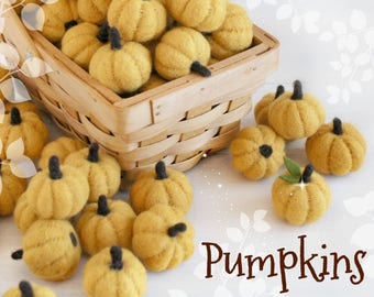"Little Felt Pumpkins - Size, Approx. 2"" - Orange Mini Pumpkins - White Little Pumpkins - Cute Wool Felt Pumpkins - Yellow Mini Pumpkins"