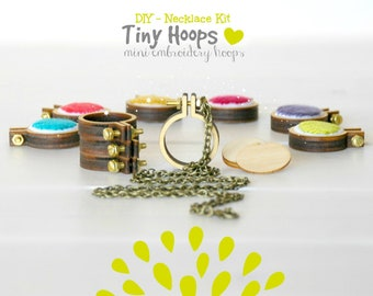 "DIY Necklace Kit - Mini Embroidery Hoop Frame with Necklace - 1""/2.5CM Hoop - Miniature Embroidery Hoops - Mini Hoop Frame - DIY Necklace"