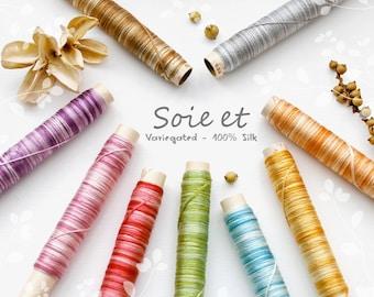 Variegated Embroidery Silk Thread - 100% Silk Thread - Hand Embroidery Thread - Embroidery Thread - Variegated Silk Thread by Fujix